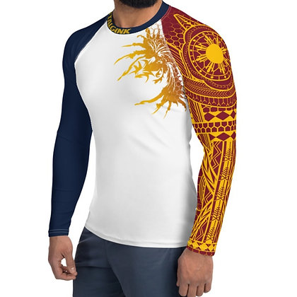 Modern Filipino Tattoo (Batok) Style Men's Rash Guard (Philippine Flag Colorway)