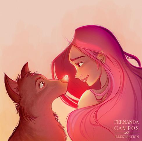 Sunset dog post Fernanda Campos illustra