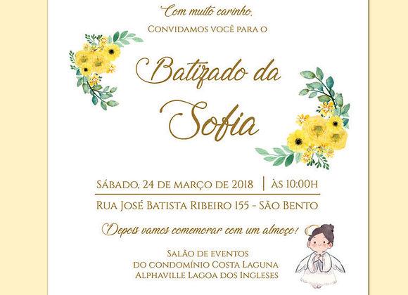 Convite de Batizado - Amarelo Delicado