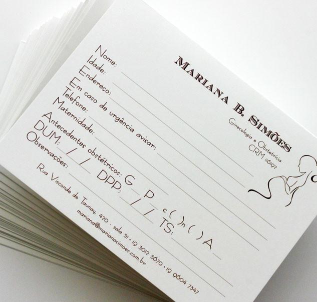 Cartão Pré-Natal personalizado - ginecologista Dra Mariana Simões