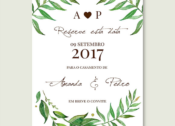 Save the Date - Aquarela Rústica