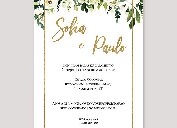 Convite de Casamento - Floral Sofia