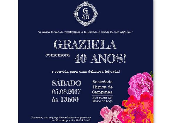 Convite de aniversário 40 anos - Navy Floral