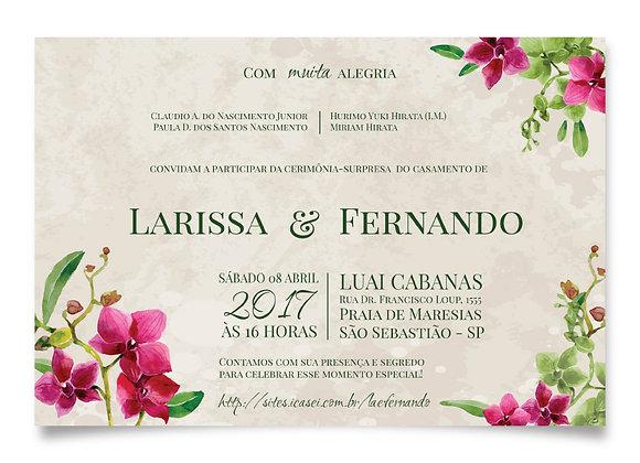 Convite de Casamento - Orquídea