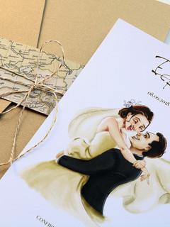 Convite com Desenho dos Noivos - Emilia e Ricardo