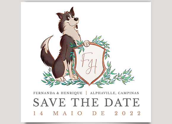 Save the Date - Border Collie no Casamento