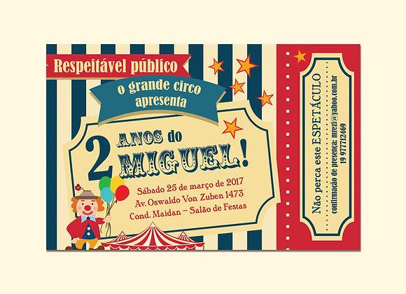 Convite Ingresso de Circo