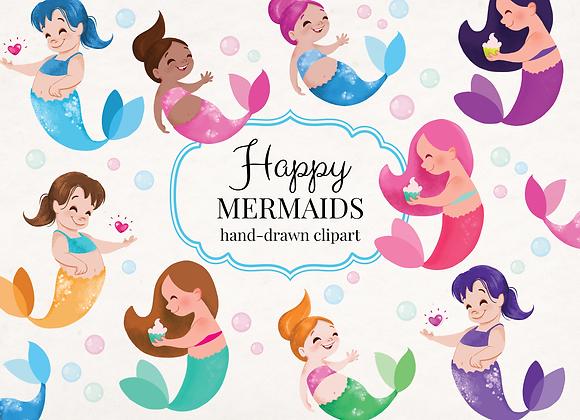Happy Mermaids Clipart Bundle