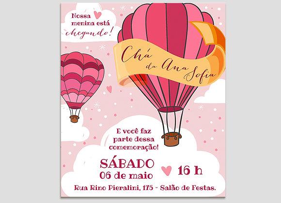Convite Balão Cor-de-Rosa