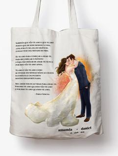 Ecobag com desenho dos noivos - Amanda e Daniel