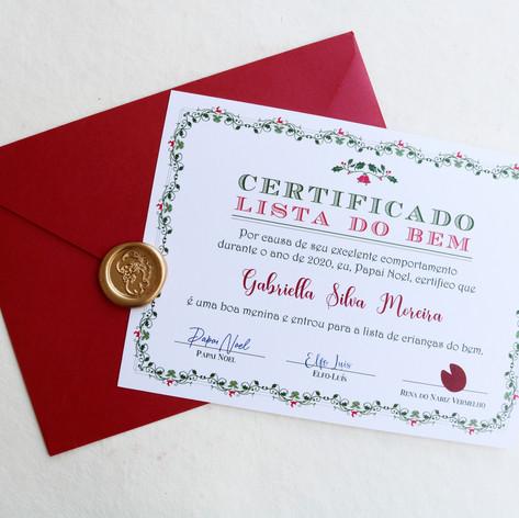 Certificado da LISTA DO BEM