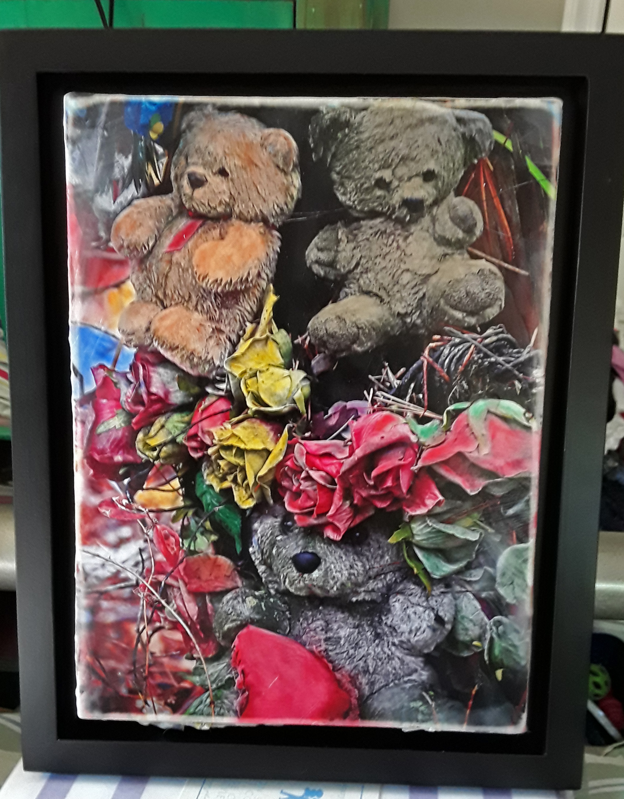 Teddy bear shrine. Photomontage.