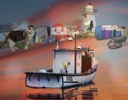 Safe harbor. Photomontage.