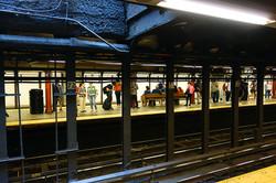 Waiting on the subway platform, NYC