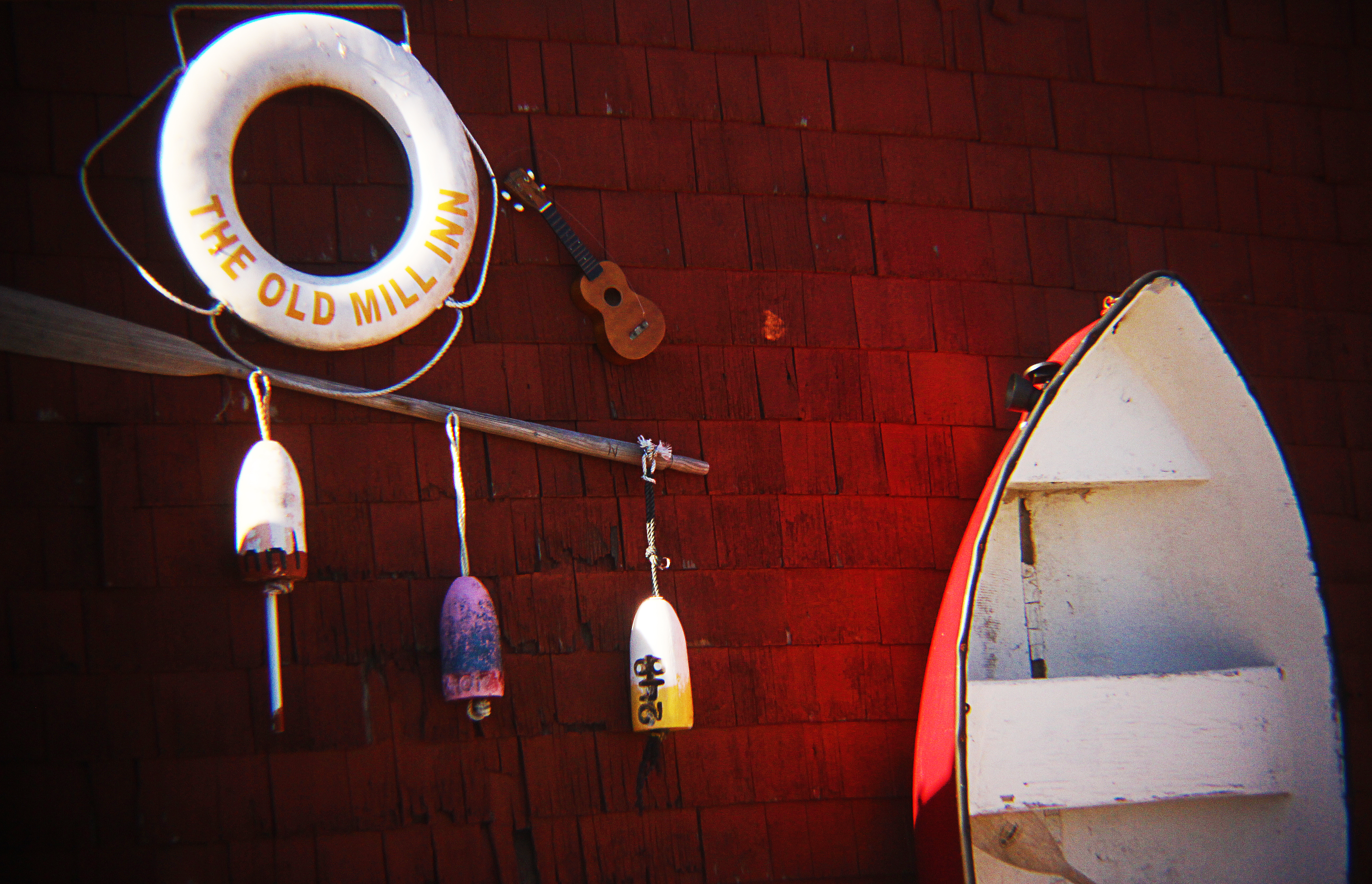Rowboat and buoys.