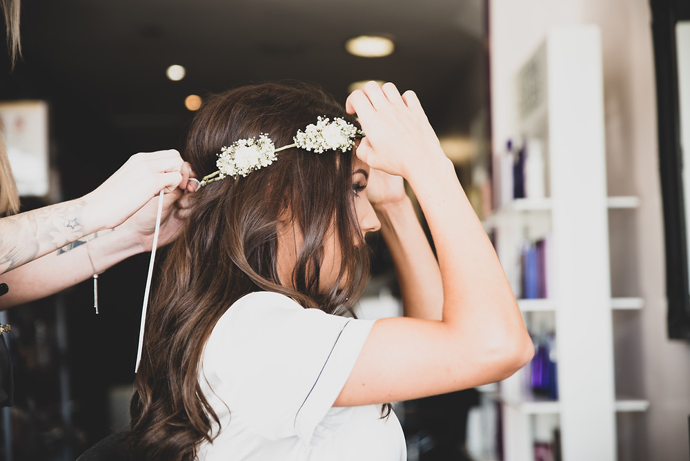 Bridal hair final touches