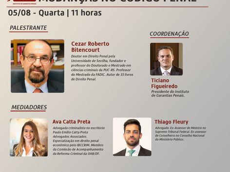"""WEBINÁRIO IGP: """"Pacote anticrime e mudanças no Código Penal"""""""