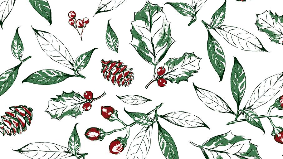 Estampa Natal Botânico