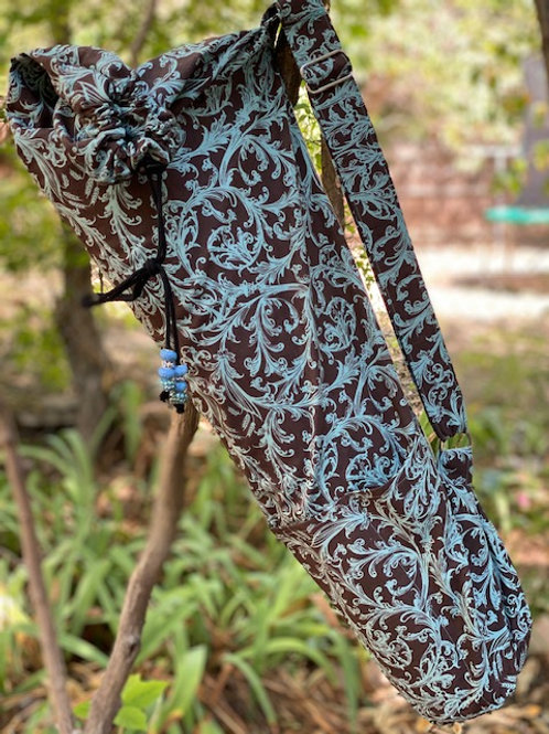 Aqua and Brown Floral Print
