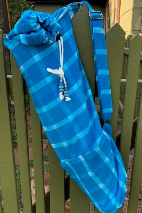 Turquoise Cotton Plaid Yoga Bag