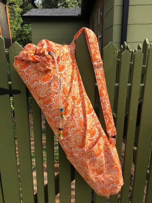 Boho Orange Paisley Yoga Bag
