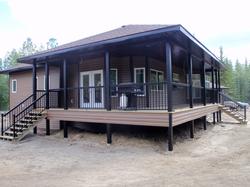 Custom Home - Deck with Black Trim and Black Regal Railing System