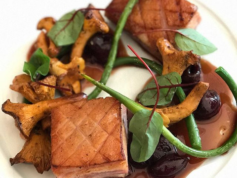 Pork belly, chanterelles and cherries _coalandlumber