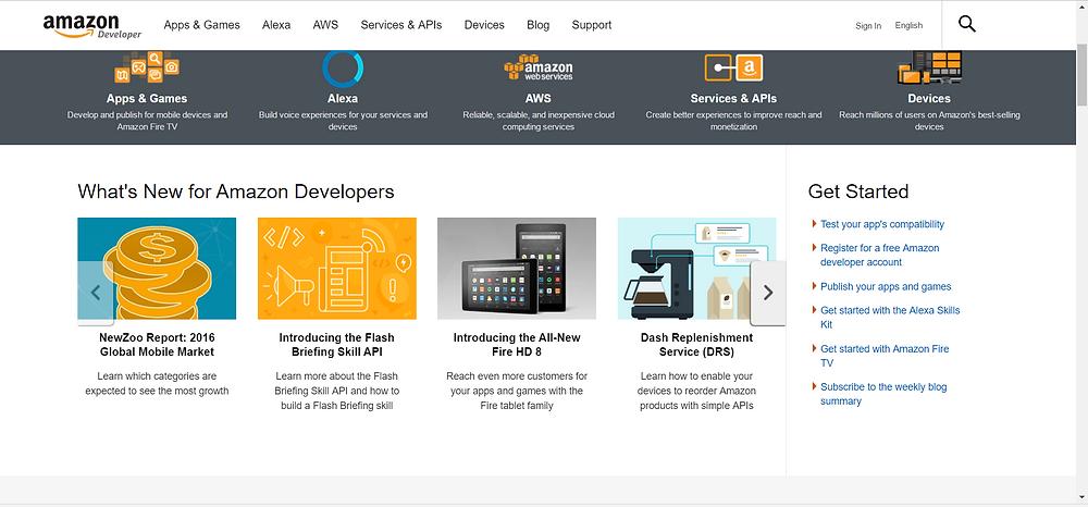 Screenshot of Alexa API homepage