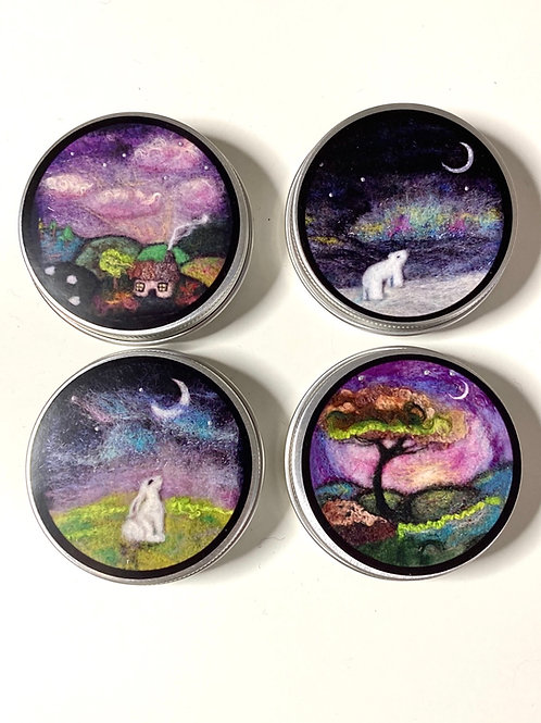 Set of 4 Storage Tins | Prints of Felted Paintings