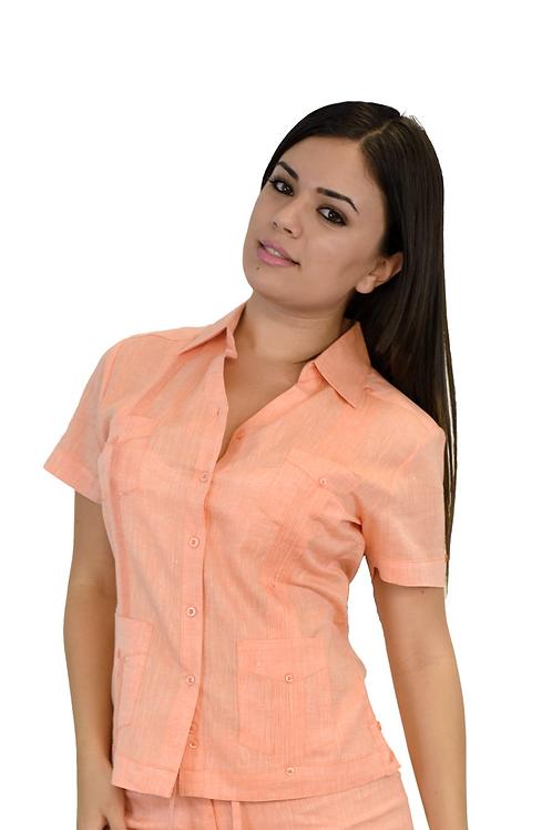 Women Short Sleeves 100% Linen Guayabera Shirt