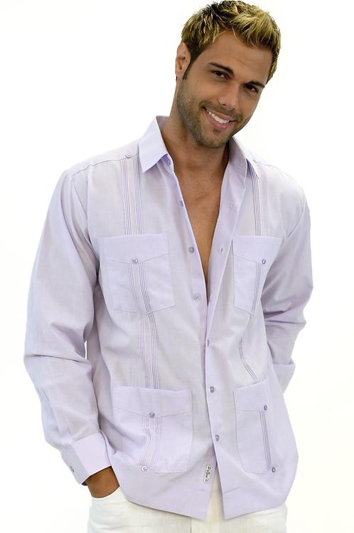 Long Sleeves Poly / Cotton Guayabera Shirt