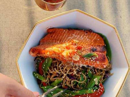 Miso-Yuzu Salmon Yaki Soba