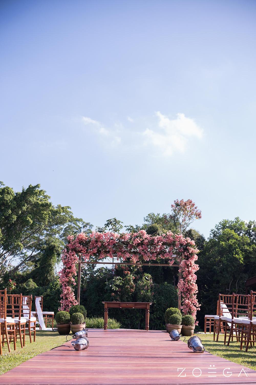decoração rosa cerimônia