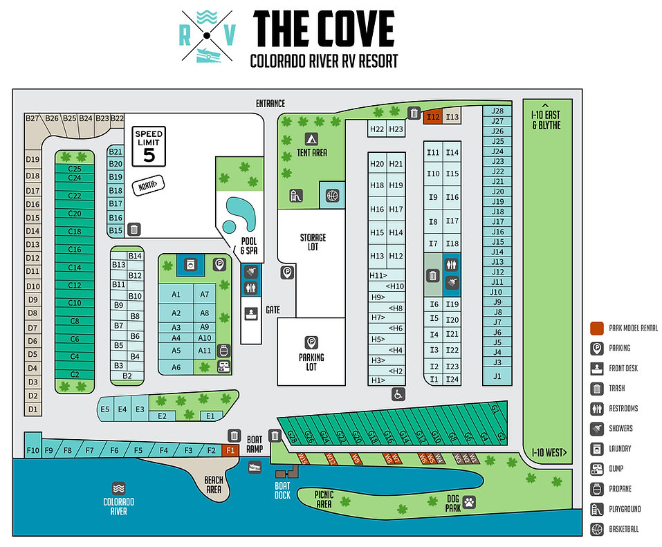The Cove Rv Resort Blythe, CA Site Map, Park Models, Pull through spaces, Full hook-ups, Riverfront views, Colorado River campground views