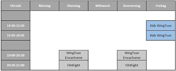 Stundenplan WingTsun Schule Piding