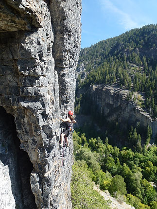 airingout Clay's Samantha Lockwood rock climbig in American Fork Canyon, Utah