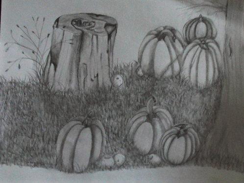 Pumpkins, Apples in the grass.