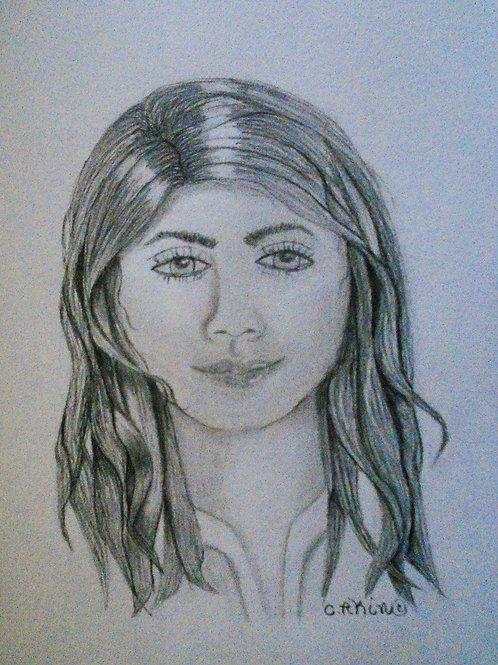 Girl with medium dark hair.