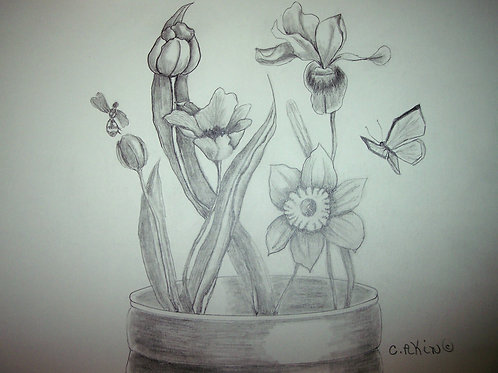 Iris, Tulips, Daffodil, Bee, and Butterfly.