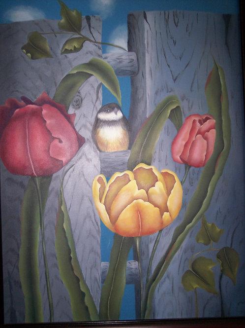 Chickadee and Tulips