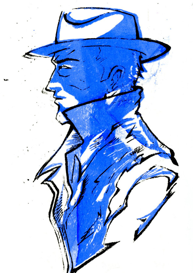 The Detective, in blue