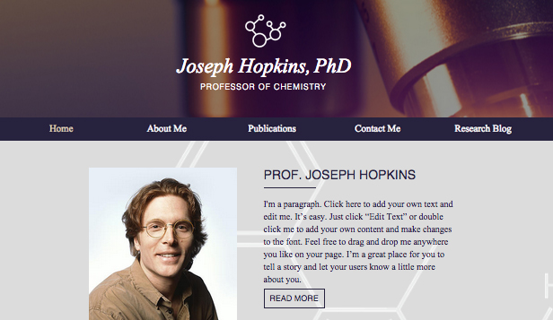 scientists site - Resume Web Template