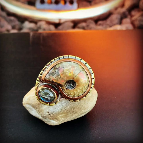 Labradorite & Ammonite Ring Size 13