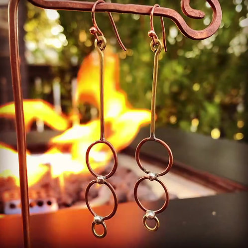 Three Circles copper and silver Earrings