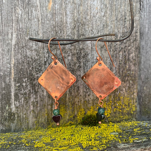 Heart Hematite Earrings