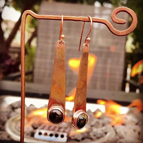 Copper Cabochon Earrings