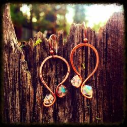 Clear Beads | Copper | Earrings