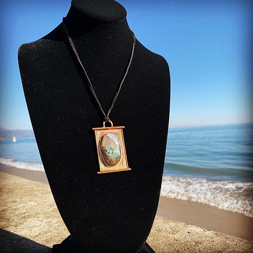 Moss Agate Picture Frame Pendant