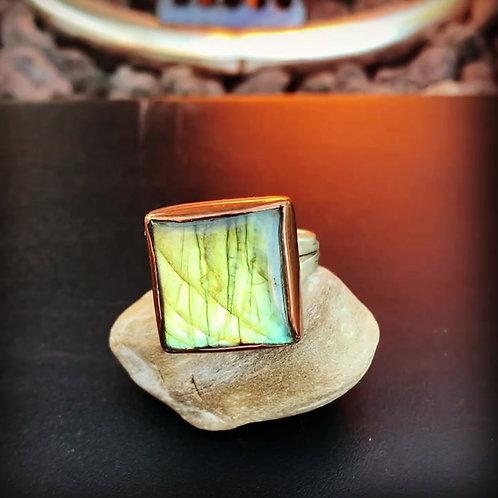 Square Labradorite Ring Size 7