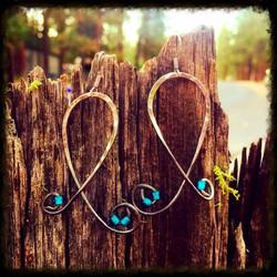 Blue Beads | Steel | Earrings